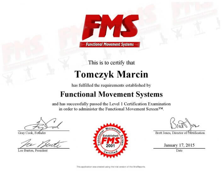 Functional Movement System trener personalny Marcin Tomczyk Sosnowiec Certyfikowany Ekspert FMS